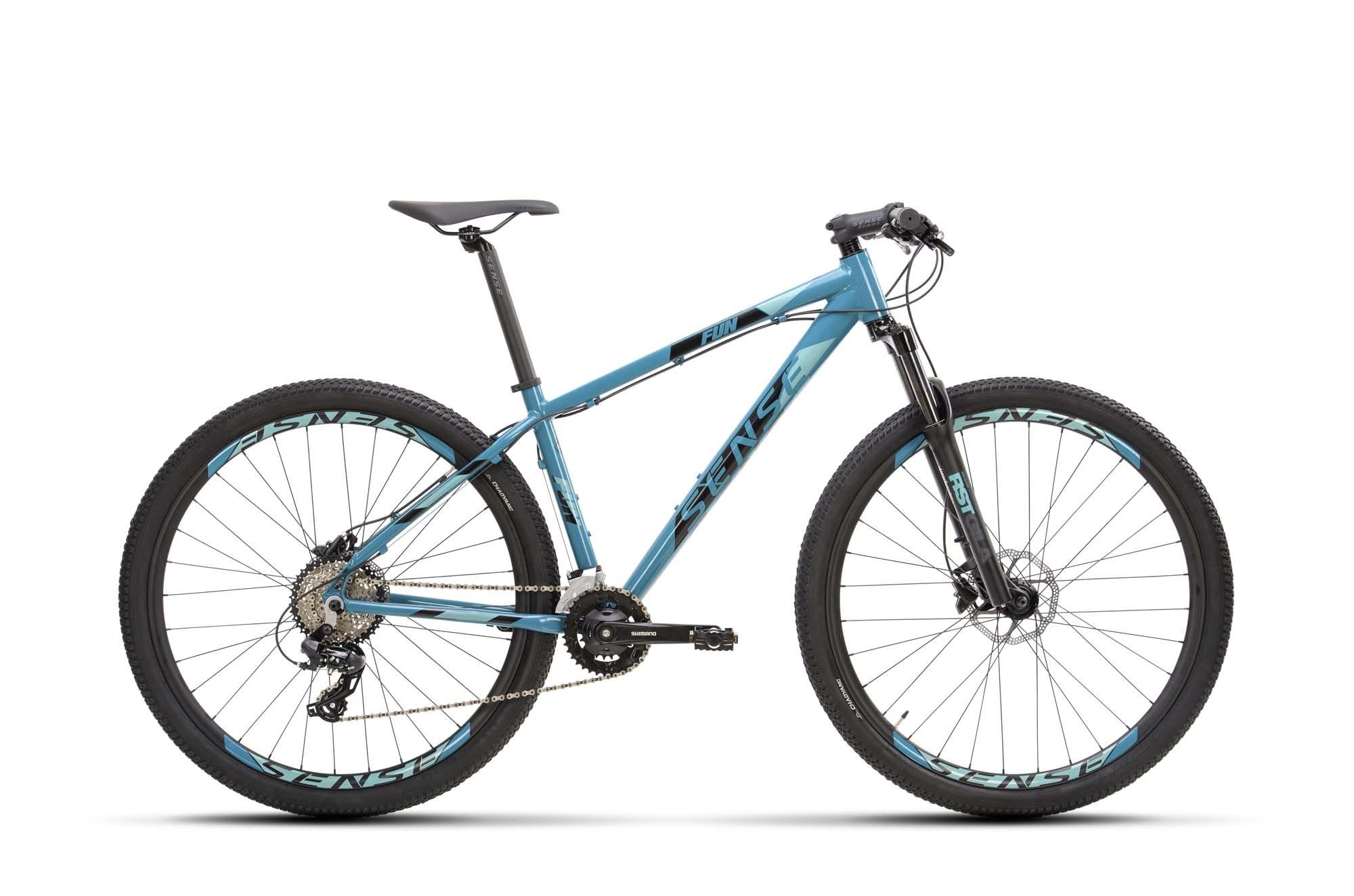 Bicicleta SENSE Fun Comp 2021 - 16v Shimano Altus / Tourney - Freio Shimano Hidráulico - Suspensão RST Gila - Aqua/Preto
