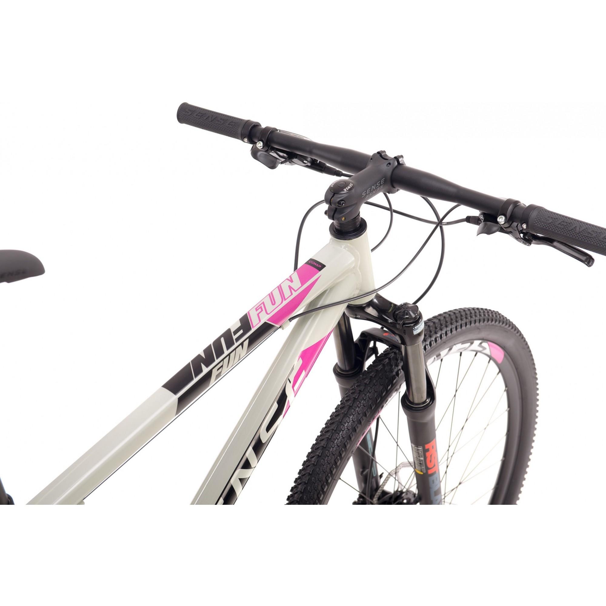 Bicicleta SENSE Fun Comp 2021 - 16v Shimano Altus / Tourney - Freio Shimano Hidráulico - Suspensão RST Gila - Cinza/Roxo