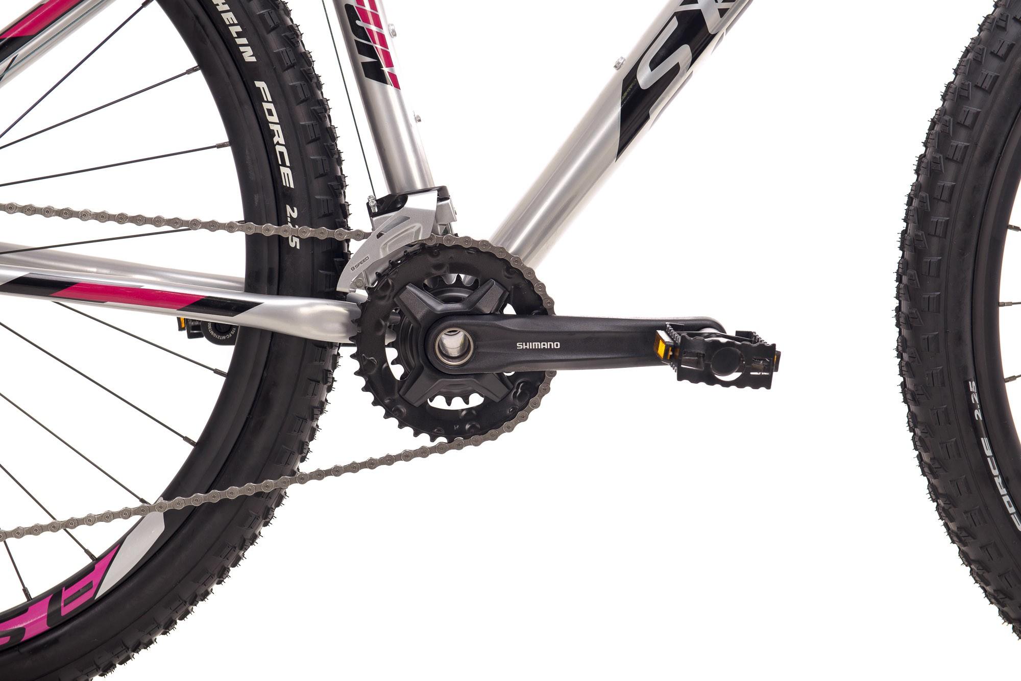 Bicicleta SENSE Fun Evo 2021 - 18v Shimano Alivio - Freio Hidráulico - Suspensão RST Blaze com trava no Ombro - Prata/Roxo