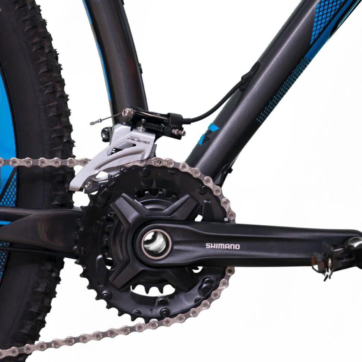 Bicicleta SENSE Impact Pro 2019 - 18v Shimano Alívio - Suspensão Suntour a AR - Cinza/Azul