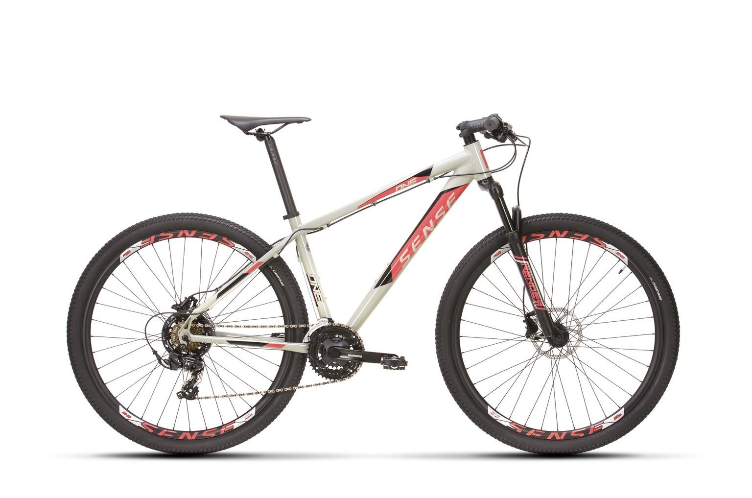Bicicleta SENSE One 2021 - 21v Shimano Tourney - Freio a Disco Hidráulico - Cinza/Rosa