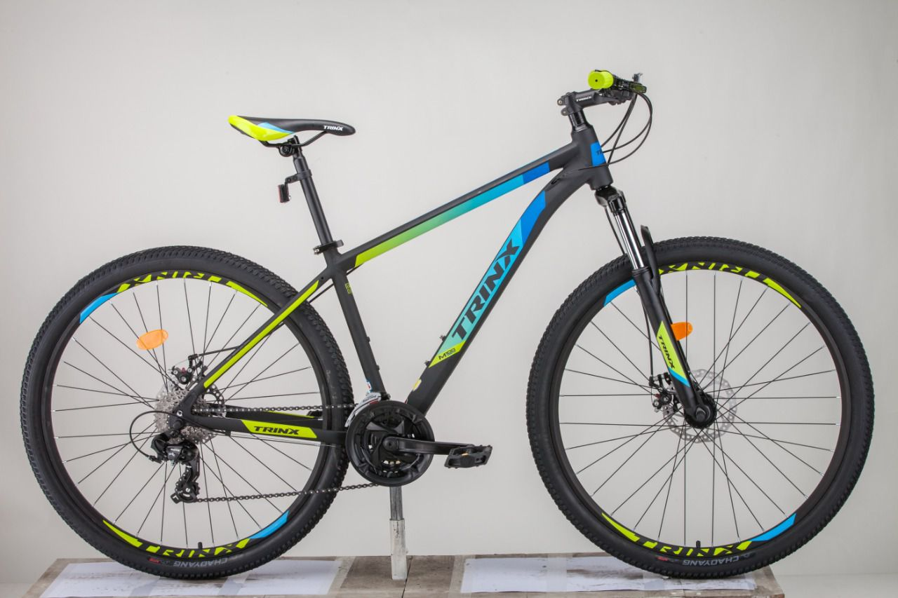 Bicicleta TRINX aro 29 - 24v Shimano Tourney - Freio a Disco - Preto/Azul/Verde
