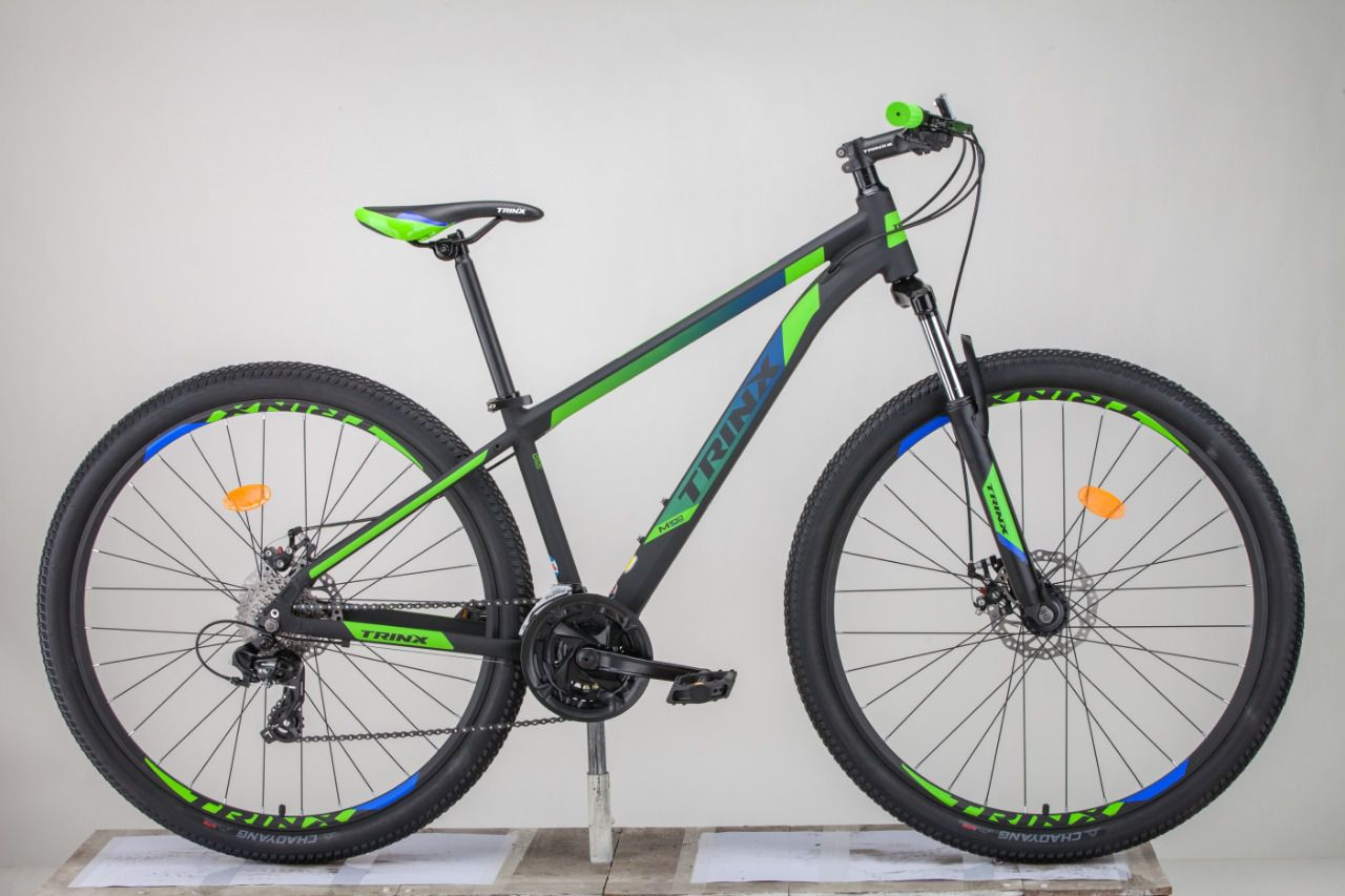 Bicicleta TRINX aro 29 - 24v Shimano Tourney - Freio a Disco - Preto/Verde/Azul