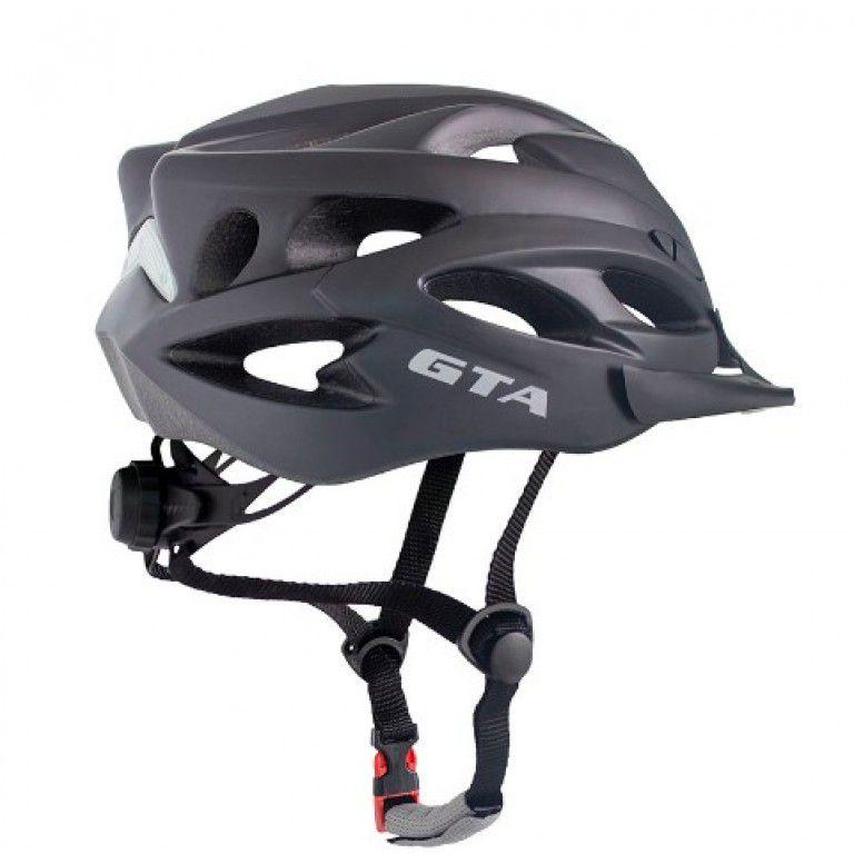 Capacete Ciclismo MTB GTA c/Led e Viseira - Preto Fosco