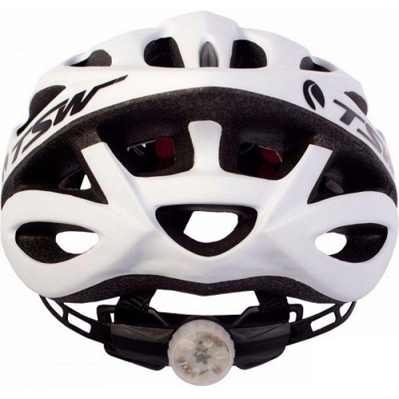 Capacete Ciclismo MTB TSW c/Viseira e Led - Branco Fosco