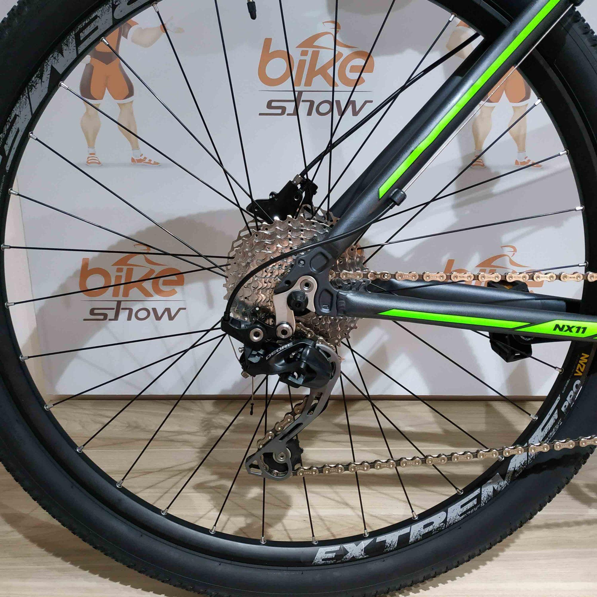 Bicicleta GTA NX11 aro 29 - 20v Shimano Deore - Freio Shimano Hidráulico - Suspensão Trust com trava no guidão