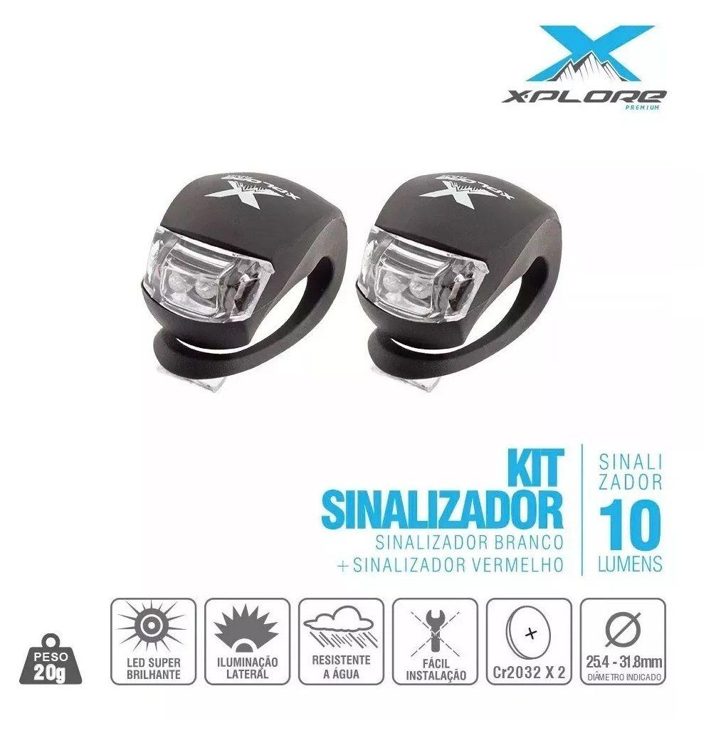 Kit Sinalizador Super Bright X-PLORE De Silicone Dianteiro/Traseiro - 2 Leds - Silicone