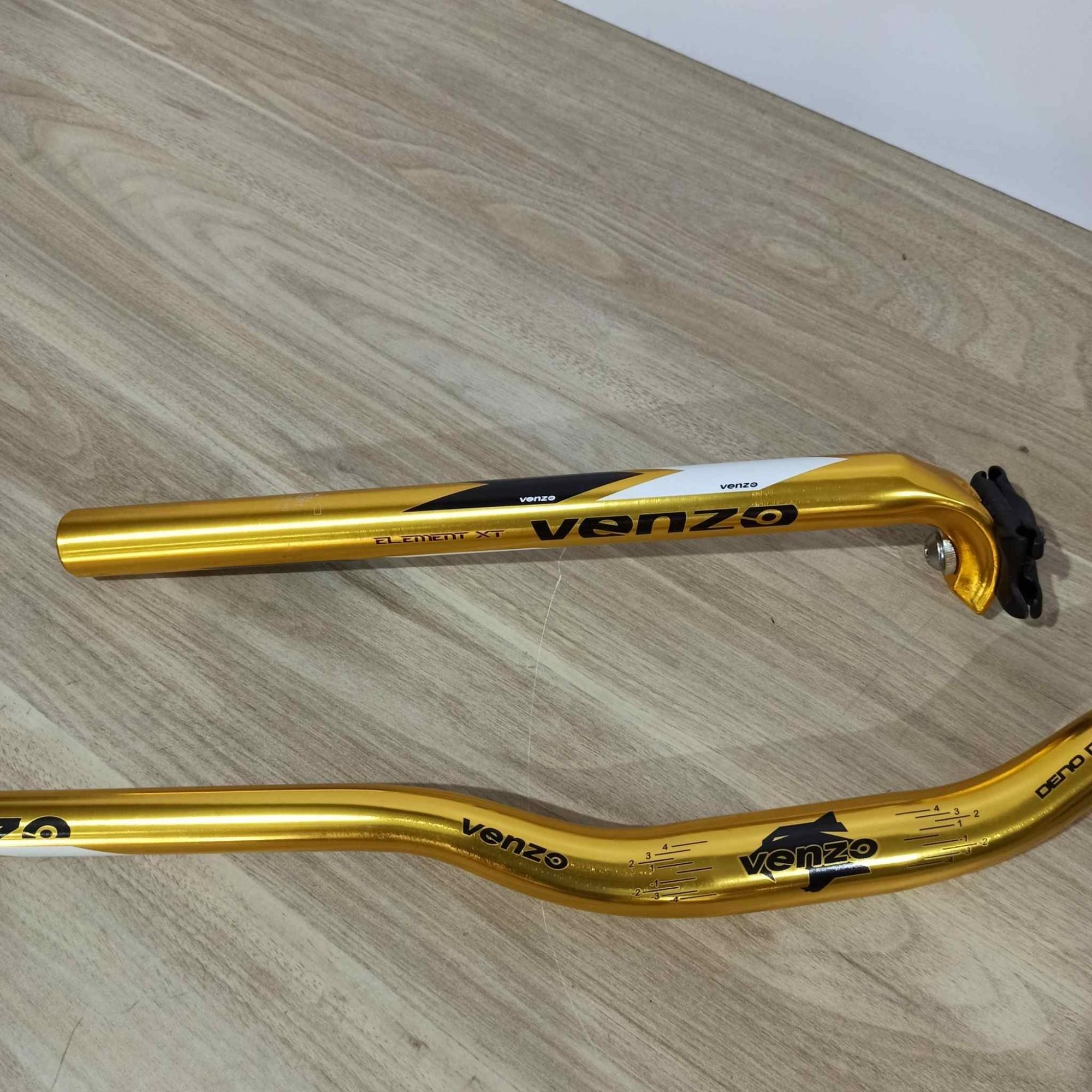 Kit VENZO Mountain Bike 5 Peças Guidão Mesa Canote Alumínio Dourado
