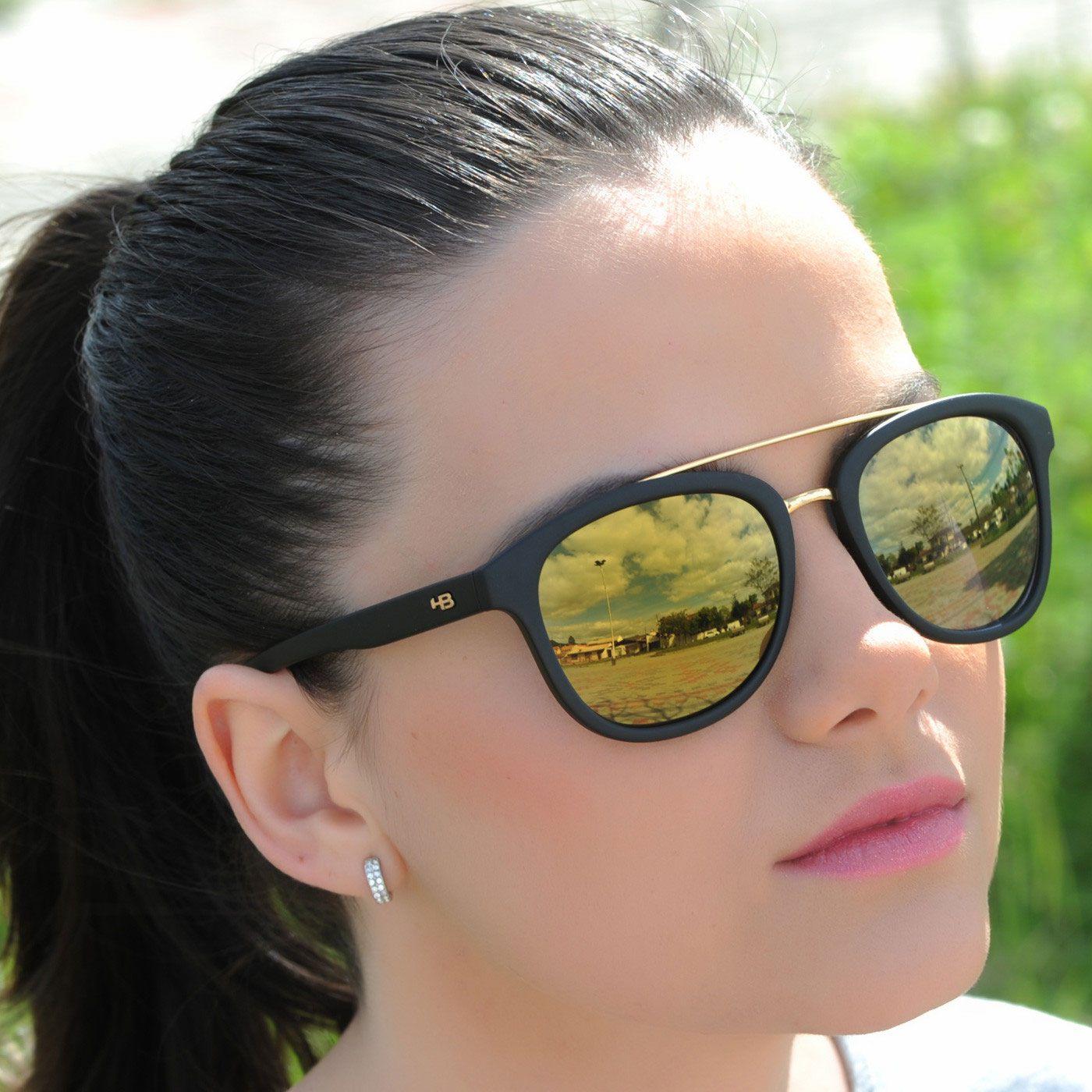 97ddcf8e9 Óculos de Sol HB Moomba Gold Chrome - Preto Fosco - Espelhado