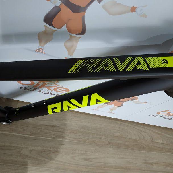 Quadro RAVA Cave Aro 29 MTB Alumínio Preto/Amarelo Neon 2019