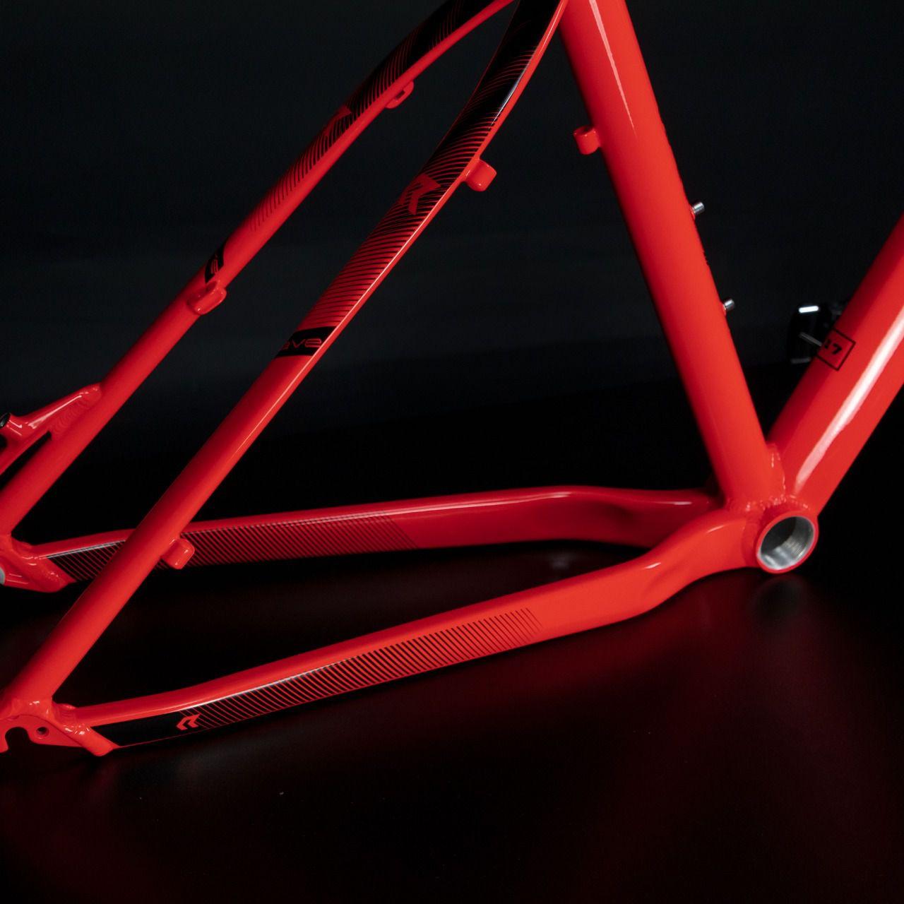 Quadro RAVA Cave Aro 29 MTB Alumínio cor Vermelho Neon 2019 c/ kit 5 peças