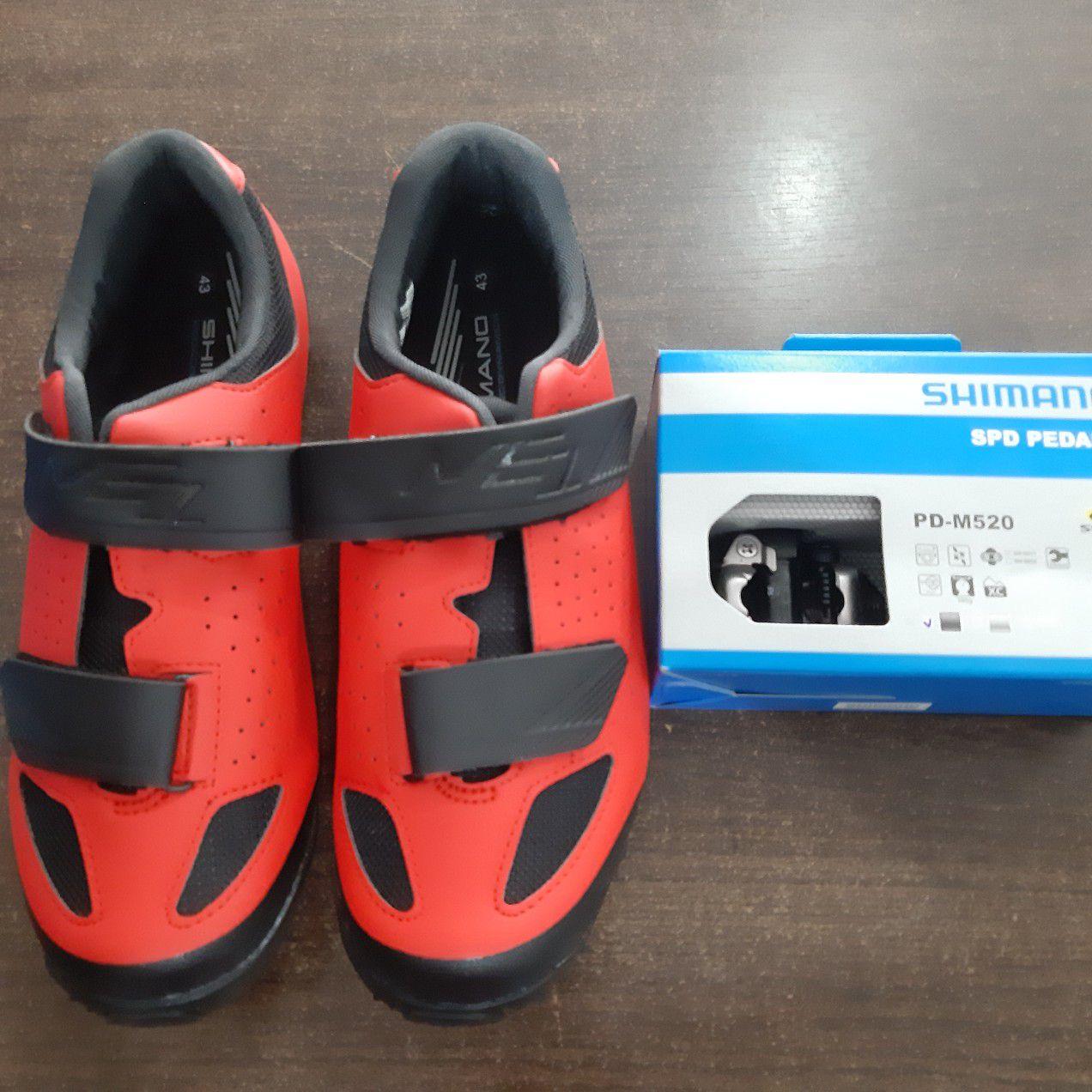 Sapatilha MTB SHIMANO ME1 + Pedal SHIMANO MTB M520 Clip com taquinhos