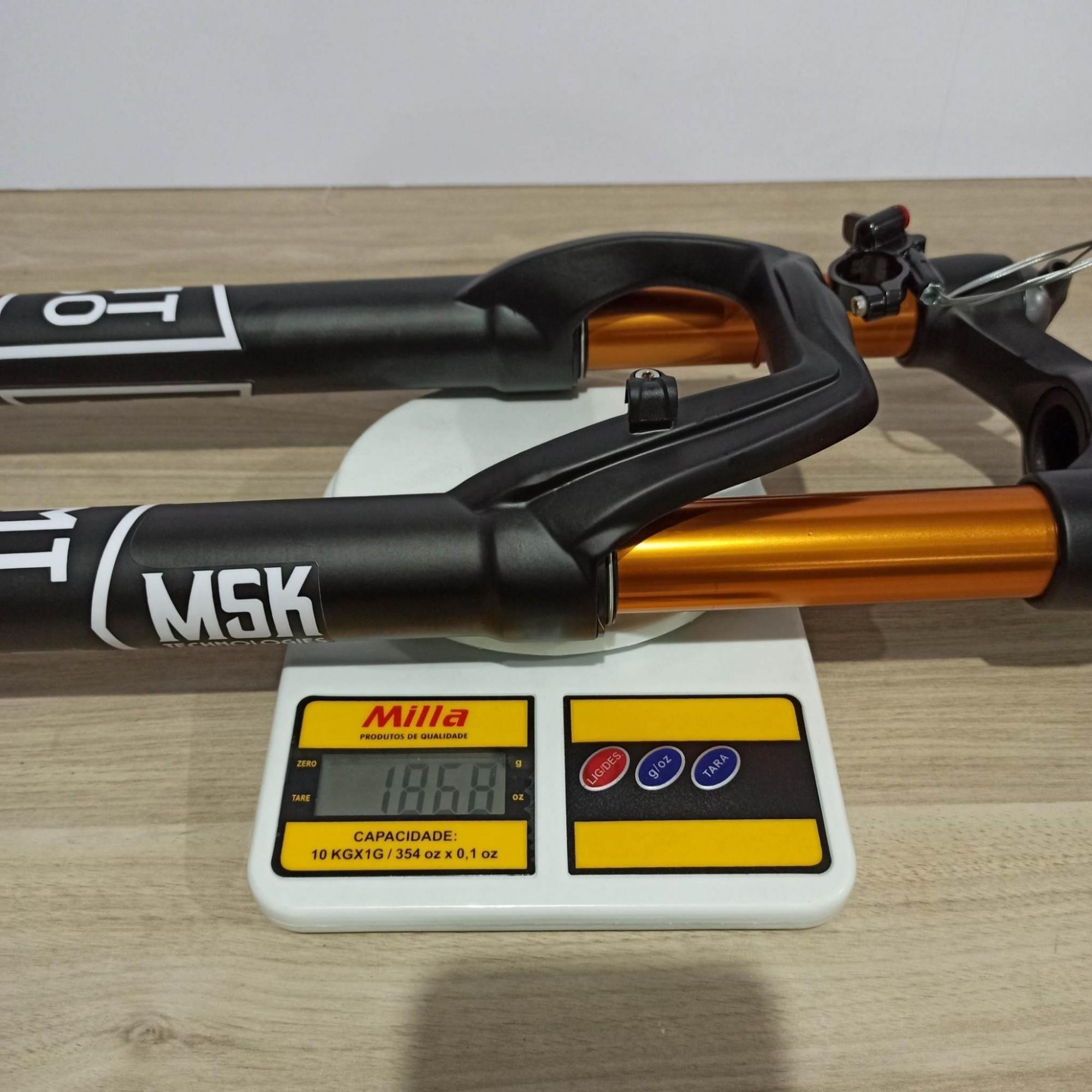 Suspensão 29 MASTERSHOCK MT-30 Tapered - Eixo 15 mm BOOST - Com Trava no Guidão - SEM Regulagem de Retorno - Preto Fosco