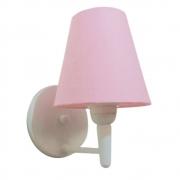 Arandela Cone Md-2004 Base Branco Cúpula em Tecido 14/14x07cm Rosa Bebê - Bivolt