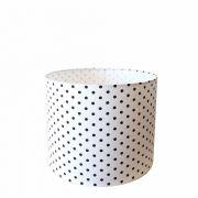 Cúpula em Tecido Cilindrica Abajur Luminária Cp-4113 30x25cm Branco Bolha Preta