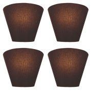 Kit/4 Arandela Retro Cone Md-2001 Cúpula em Tecido 25/26x13cm Café - Bivolt