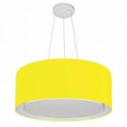 Lustre Pendente Cilíndrico Duplo Md-4124 Cúpula em Tecido 50x25cm Amarelo - Bivolt