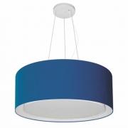 Lustre Pendente Cilíndrico Duplo Md-4124 Cúpula em Tecido 50x25cm Azul Marinho - Bivolt