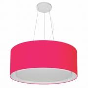 Lustre Pendente Cilíndrico Duplo Md-4124 Cúpula em Tecido 50x25cm Rosa Pink - Bivolt