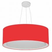 Lustre Pendente Cilíndrico Duplo Md-4126 Cúpula em Tecido 80x30cm Vermelho - Bivolt