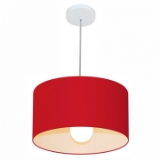 Lustre Pendente Cilíndrico Md-4031 Cúpula em Tecido 40x21cm Vermelho - Bivolt