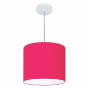 Lustre Pendente Cilíndrico Md-4143 Cúpula em Tecido 35x25cm Rosa Pink - Bivolt