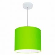 Lustre Pendente Cilíndrico Md-4143 Cúpula em Tecido 35x25cm Verde Limão - Bivolt