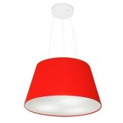 Lustre Pendente Cone Md-4001 Cúpula em Tecido 21/40x30cm Vermelho - Bivolt