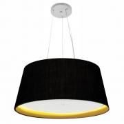 Lustre Pendente Cone Md-4015 Cúpula Forrada em Tecido 25/60x50cm Preto / Amarelo - Bivolt