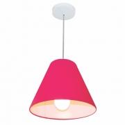 Lustre Pendente Cone Md-4028 Cúpula em Tecido 25/30x12cm Rosa Pink - Bivolt