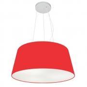 Lustre Pendente Cone Md-4048 Cúpula em Tecido 21/50x40cm Vermelho - Bivolt