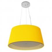 Lustre Pendente Cone Md-4144 Cúpula Forrada em Tecido 25x50x40cm Amarelo / Bege - Bivolt