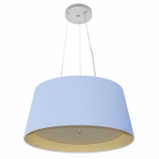 Lustre Pendente Cone Md-4144 Cúpula Forrada em Tecido 25x50x40cm Azul Bebê / Bege - Bivolt