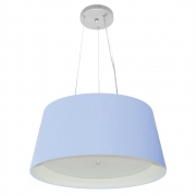 Lustre Pendente Cone Md-4144 Cúpula Forrada em Tecido 25x50x40cm Azul Bebê - Bivolt