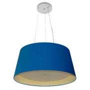 Lustre Pendente Cone Md-4144 Cúpula Forrada em Tecido 25x50x40cm Azul Marinho / Bege - Bivolt