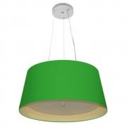 Lustre Pendente Cone Md-4144 Cúpula Forrada em Tecido 25x50x40cm Verde Folha / Bege - Bivolt