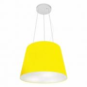 Lustre Pendente Cone Md-4152 Cúpula em Tecido 30/40x30cm Amarelo - Bivolt