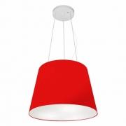 Lustre Pendente Cone Md-4152 Cúpula em Tecido 30/40x30cm Vermelho - Bivolt