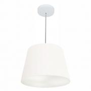 Lustre Pendente Cone Md-4155 Cúpula em Tecido 30/40x30cm Branco - Bivolt