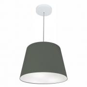 Lustre Pendente Cone Md-4155 Cúpula em Tecido 30/40x30cm Cinza Escuro - Bivolt