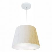 Lustre Pendente Cone Md-4155 Cúpula em Tecido 30/40x30cm Linho Bege - Bivolt