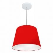 Lustre Pendente Cone Md-4155 Cúpula em Tecido 30/40x30cm Vermelho - Bivolt