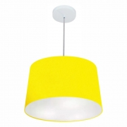 Lustre Pendente Cone Md-4156 Cúpula em Tecido 30/45x40cm Amarelo - Bivolt
