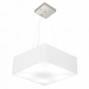 Lustre Pendente Quadrado Md-4196 Cúpula em Tecido 15/45x45cm Branco - Bivolt