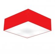 Plafon de Sobrepor Quadrado SP-3002 Cúpula Cor Vermelho