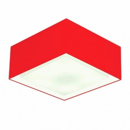 Plafon de Sobrepor Quadrado SP-3039 Cúpula Cor Vermelho