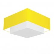 Plafon Duplo Quadrado Md-3018 Cúpula em Tecido 25/70x50cm Amarelo / Branco - Bivolt