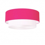 Plafon Para Sala de TV Cilíndrico TV-3024 Cúpula Cor Rosa Pink Branco