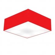 Plafon Quadrado Md-3002 Cúpula em Tecido 15/50x50cm Vermelho - Bivolt