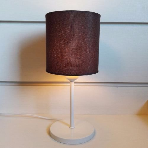 Abajur de Mesa Md-2010 Base Branca Cupula Tecido Cilindrica 14x15cm Café